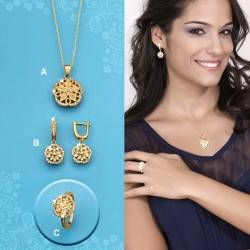 SET IZA :: EARRINGS, RING, PENDANT WITH CHAIN