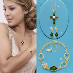 SET RUBI :: EARRINGS, BRACELET, PENDANT WITH CHAIN