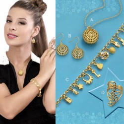 SET GALA :: EARRINGS, RING, BRACELET, PENDANT WITH CHAIN